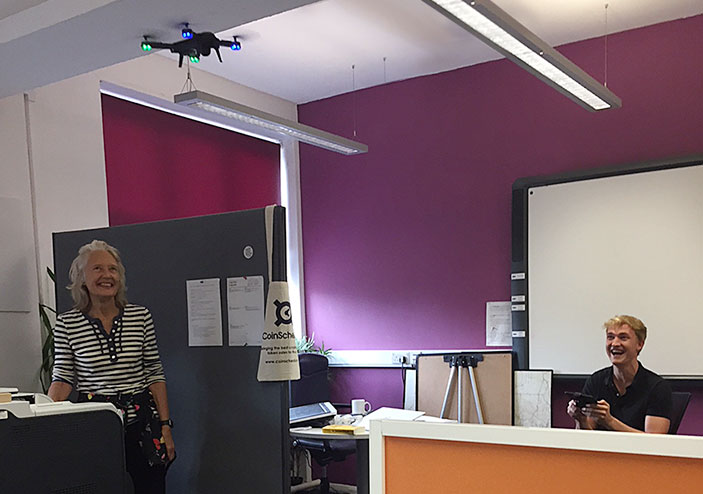 Practising flying the drone – in the office