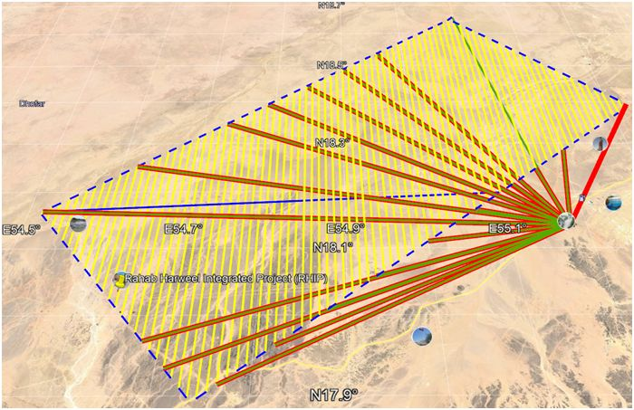 Potential aerial survey flight plan for Middle Eastern exploration programme.