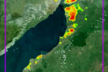 Satellite image of the effect of hydrocarbon seepage