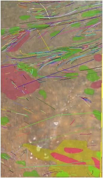 Remote sensing analysis showing surface anomalies found on the Namibian concession.